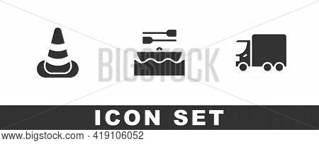 Set Traffic Cone, Boat With Oars And Delivery Cargo Truck Icon. Vector