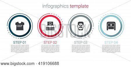 Set Ussr T-shirt, Mausoleum Of Lenin, Joseph Stalin And Ushanka. Business Infographic Template. Vect