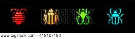 Set Larva Insect, Colorado Beetle, Insect Fly And Stink Bug Icon. Vector