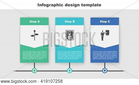 Set Road Traffic Signpost, Portrait In Museum And Museum Guide. Business Infographic Template. Vecto