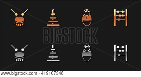 Set Drum With Drum Sticks, Pyramid Toy, Tumbler Doll And Abacus Icon. Vector