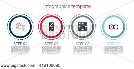 Set Tic Tac Toe Game, Domino, Board Of Checkers And Time Chess Clock. Business Infographic Template.