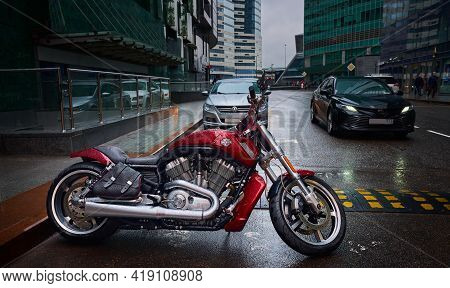Moscow, Russia - April 21, 2021: Harley Davidson Motorcycle With A Beautiful And Powerful Appearance