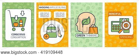 Mindful Spendings Brochure. Conscious Buying, Not Impulse Buying, Green Thinking Template. Flyer, Ma