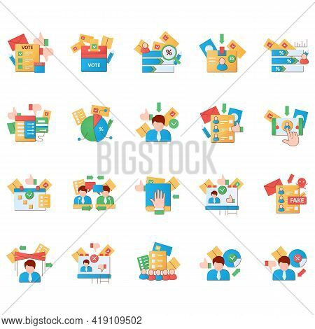 Election Flat Icons Set.election Machine, Vote Counting, Voting Poll. Choice, Vote Concept. Democrac