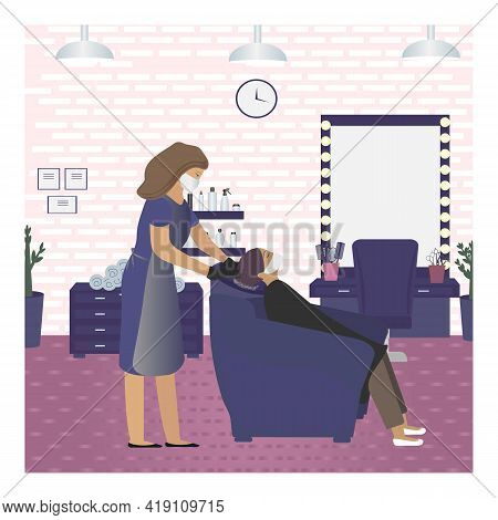 Vector Illustration Of A Masked And Gloved Barber Washing A Girl's Hair In A Beauty Salon. Visit To