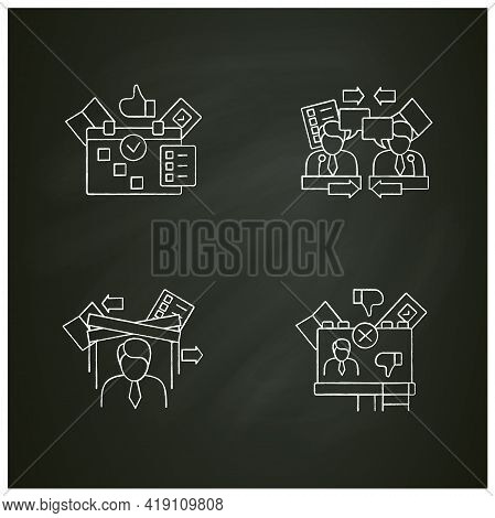 Election Chalk Icons Set.negative Ad, Election Day, Political Puppet, Debate. Choice, Vote Concept.