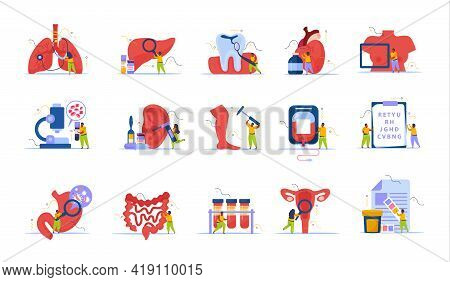 Health Checkup Recolor Set With Healthcare And Treatment Symbols Flat Vector Illustration