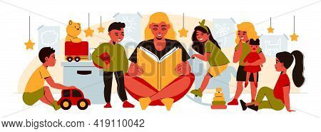 Kindergarten Composition With Female Character Of Nanny Reading Out Book For Group Of Kids With Toys
