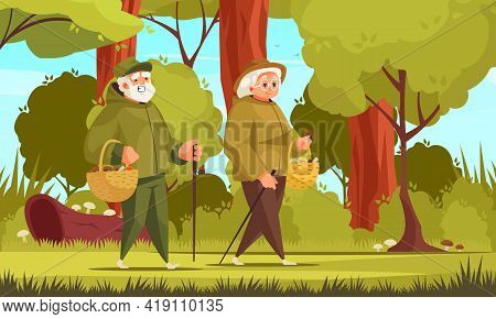 Old People Outdoor Activity Cartoon Composition With Elderly Couple Gathering Mushrooms In The Wild