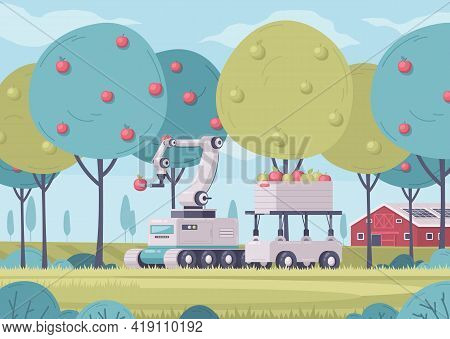 Smart Farming Cartoon Composition With Outdoor Garden Scenery With Farm Buildings And Robotic Carts