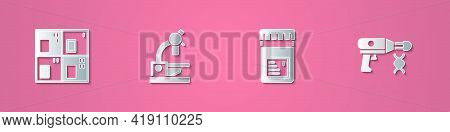 Set Paper Cut Periodic Table, Microscope, Jar With Additives And Transfer Liquid Gun Icon. Paper Art