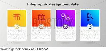 Set Law Pillar, Courthouse Building, Handcuffs And Footsteps. Business Infographic Template. Vector