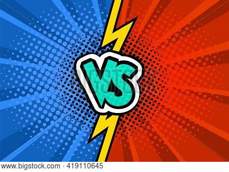 Vs Comics Book Collision Background. Red And Blue Fight Versus Pattern. Comic Magazine Funny Poster.