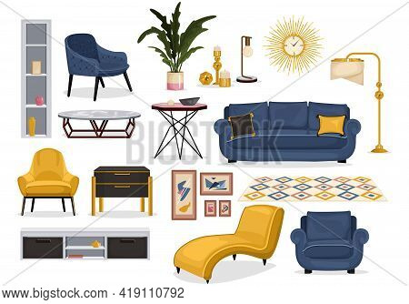 Set Of Isolated Furniture Interior Decor Icons With Images Of Soft Furniture With Tables And Carpet