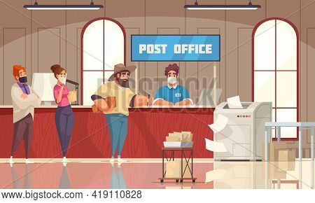 Post Office Interior Cartoon Composition Customers Queue Waiting For Counter Clerk Accepting Payment