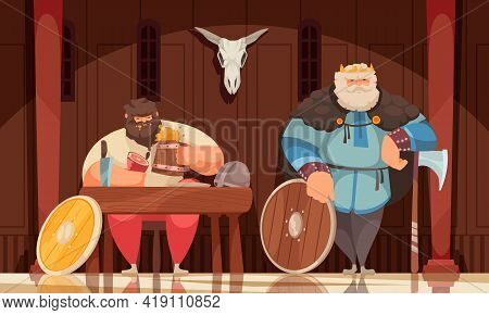 Wealthy Viking Meal In Wooden House Interior Adorned With Skull Weapons Armed Bodyguard Cartoon Comp