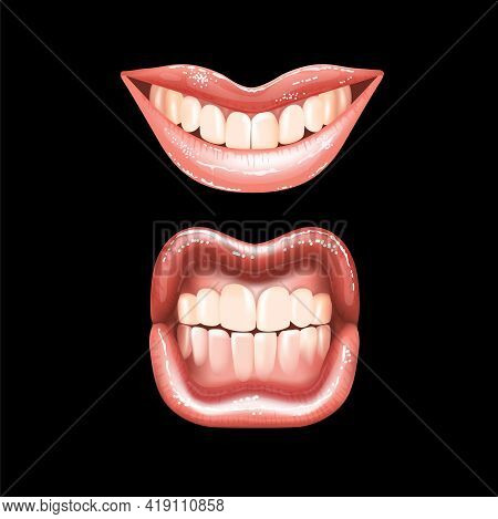 2 Shining Beautiful Female Nude Lips With Teeth For Different Designs. Pink Lipstick Color. Black Ba