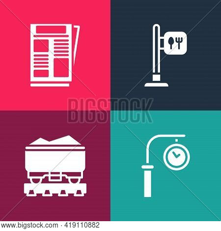 Set Pop Art Train Station Clock, Coal Train Wagon, Cafe And Restaurant Location And News Icon. Vecto