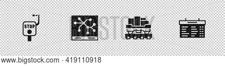 Set Emergency Brake, Railway Map, Cargo Train Wagon And Train Station Board Icon. Vector