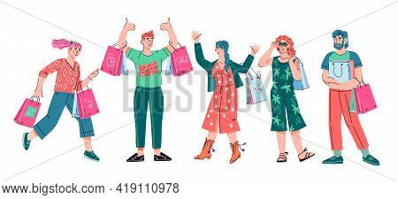 Happy Buyers Or Shoppers, Men And Women Carrying Shopping Bags, Cartoon Vector Illustration Isolated