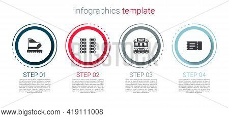 Set High-speed Train, Railway, Railroad Track, Restaurant And Train Ticket. Business Infographic Tem