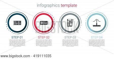 Set Train Ticket, Qr Code Train, News And Railway. Business Infographic Template. Vector