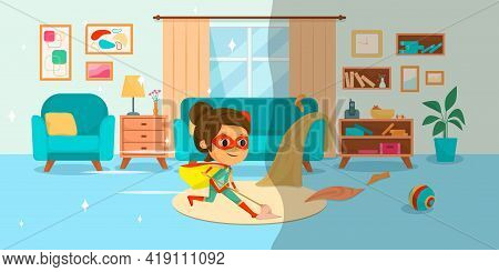 Kids Superheroes Cartoon Composition With Little Girl In Costume Mopping Floors Of The House Like Su