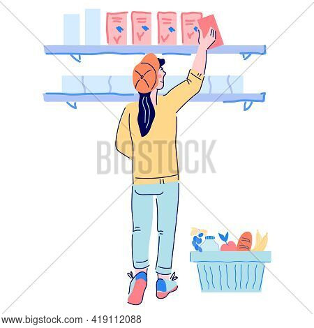 Woman Buyer Taking Food From Supermarket Shelves, Cartoon Vector Illustration Isolated On White Back