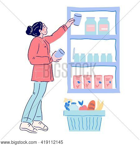 Woman Buyer Choosing Food From Supermarket Shelves, Cartoon Vector Illustration Isolated On White Ba