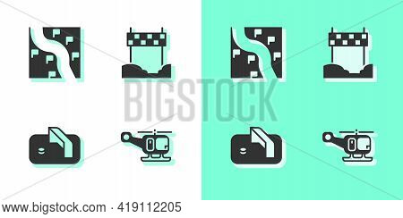 Set Rescue Helicopter, Route Location, Ice Hockey Goal And Ribbon In Finishing Line Icon. Vector