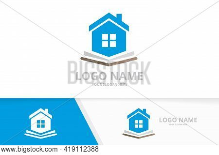 Real Estate And Book Logo Combination. House And Bookstore Logotype Design Template.