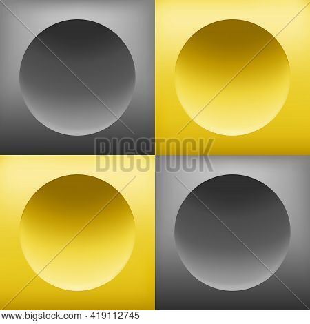Pattern Background Square Block, 3d Circle, Yellow Gray Gradient. Color Trend Of 2021. Art Elements