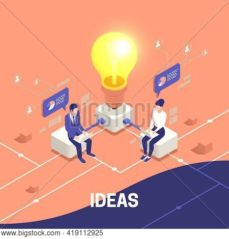 Isometric Business Concept With Creative Man And Woman Working Behind Computers Connected To Glowing