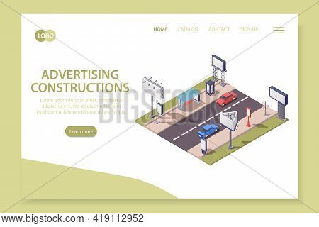 Isometric Web Site Landing Page With City Advertising Constructions 3d Vector Illustration