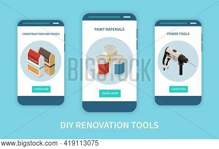 Isometric Set Of Three Isometric Diy Banners With Tools And Materials For Renovation Isolated On Blu
