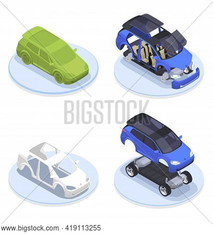 Car Designer Profession Isometric Production Set With Modeling Symbols Isolated Vector Illustration