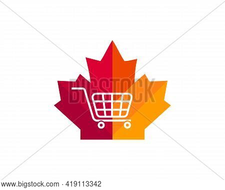 Maple Cart Logo Design. Canadian Cart Logo. Red Maple Leaf With Cart Concept Vector