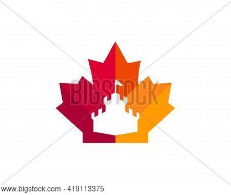 Maple Castle Logo Design. Canadian Red Maple Leaf With Castle Concept