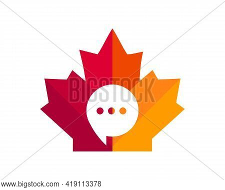 Maple Chat Logo Design. Canadian Communication Logo. Red Maple Leaf With Chat Concept Vector