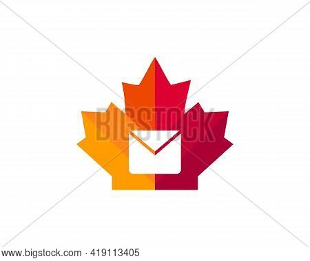 Maple Message Logo Design. Canadian Message Logo. Red Maple Leaf With Message Concept Vector