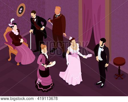 Isometric Victorian Fashion Party Composition With Indoor View Of Medieval Saloon With Human Charact