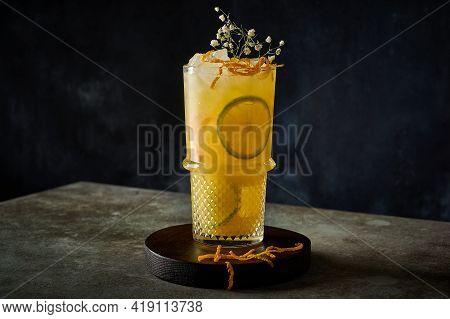 Homemade Refreshing Summer Lemonade Cocktail With Orange Juice, Crushed Ice And Citrus Fruits. Summe