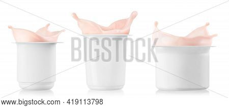 Set Of Three Plastic Cups With Splashing Yogurt