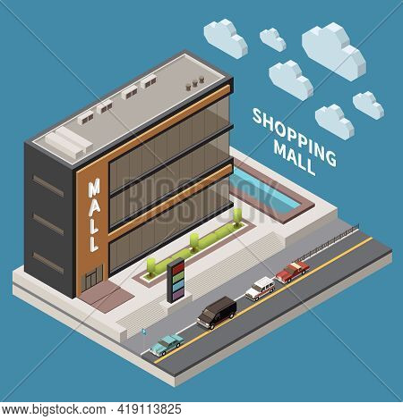 Shopping Mall Concept With Supermarket Shopping And Purchase Symbols Isometric Vector Illustration