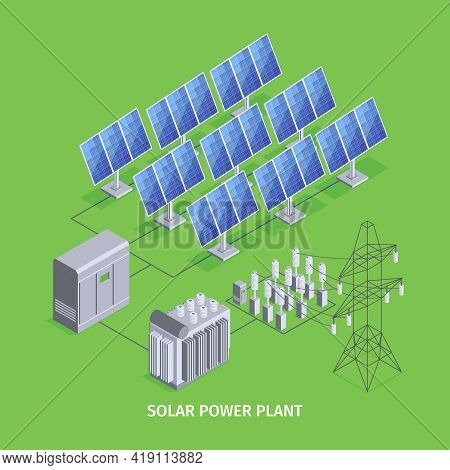 Solar Power Plant Green Background With Solar Panels And Renewable Electric Power Generation Isometr