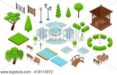Landscape Design Park Isometric Constructor Icon Set With Different Types Of Green Plantings Of Bush
