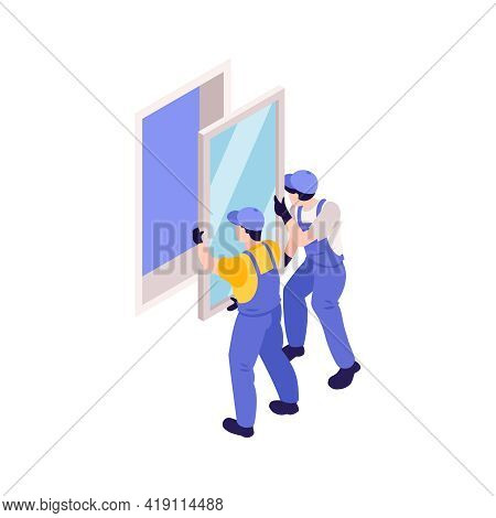 Two Fitters In Uniform Installing Window 3d Isometric Vector Illustration