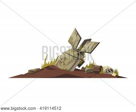 Crash Site With Plane Tail And Human Skull Cartoon Icon Vector Illustration