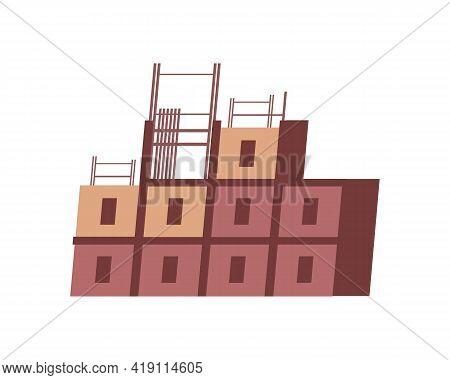 Unfinished Block Of Flats On White Background Flat Vector Illustration
